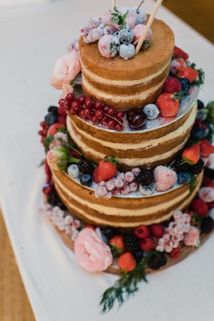 Naked Cake Layer Sponge Fruit Berries Festival Tipi Bluebell Woods Wedding http://alexa-loy.com/