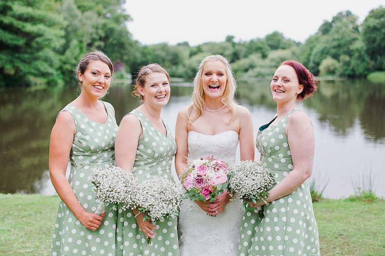 Polka Dot Prom Dresses Bridesmaids Tweed Bow Ties Fresh Country Pink Green Wedding http://www.whitestagweddings.com/