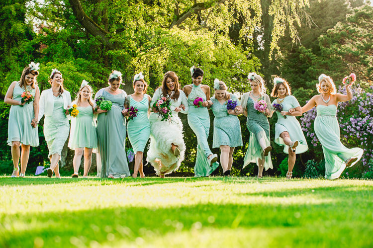 Mint Green Mismatched Bridesmaid Dresses Whimsical Jurassic Park Outdoor Wedding http://barneywalters.com/