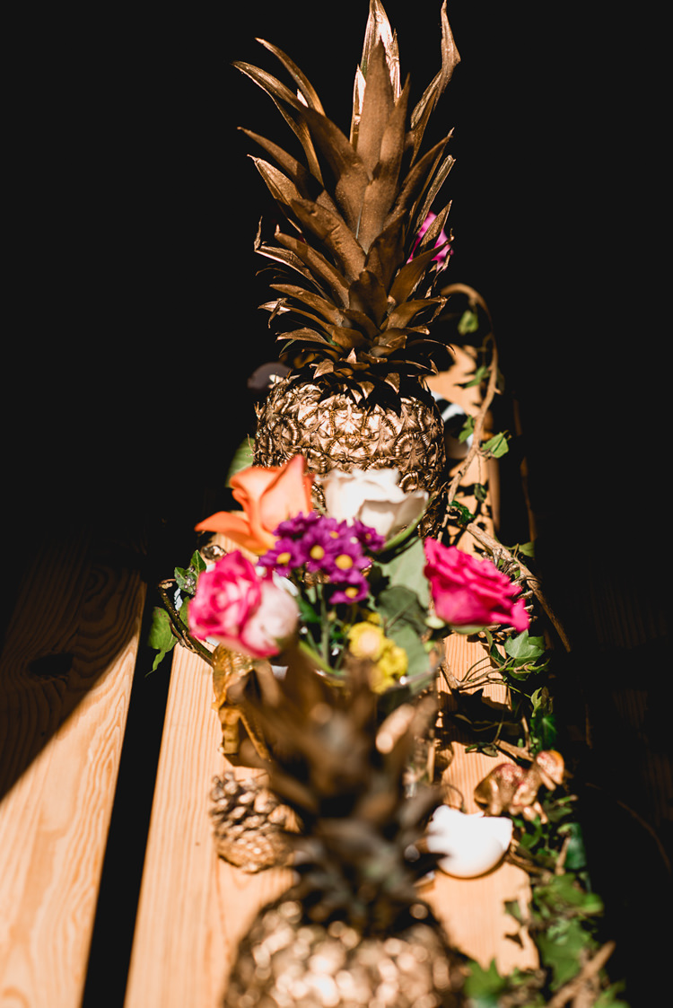 Gold Pineapple Flowers Table Centrepiece Whimsical Jurassic Park Outdoor Wedding http://barneywalters.com/