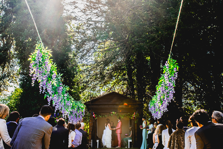 Aisle Ceremony Flowers Hanging Whimsical Jurassic Park Outdoor Wedding http://barneywalters.com/