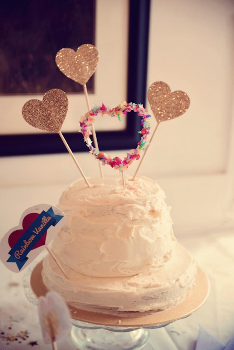 Glitter Heart Tissue Paper Topper Cake Rainbow Mismatched Kids Party Wedding http://www.jessicaraphaelphotography.com/