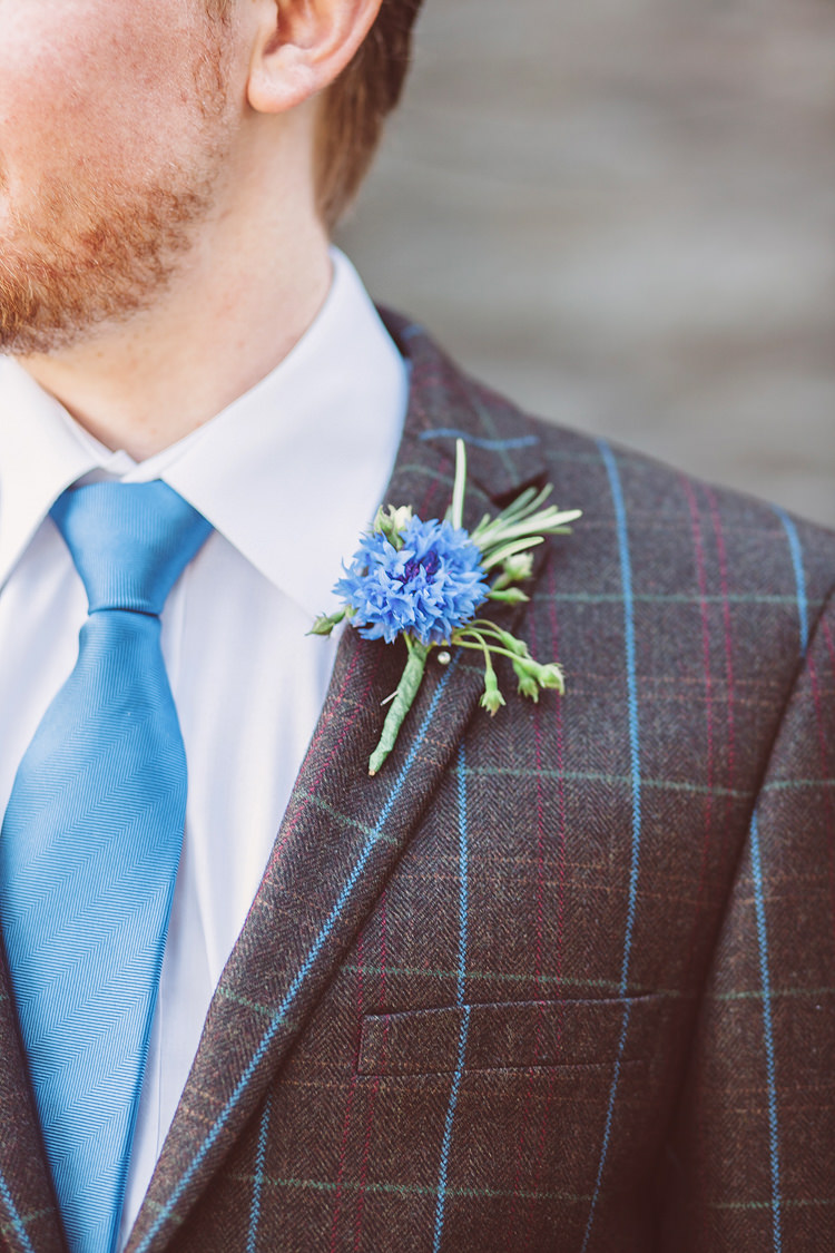 Tweed Jacket Groom Blue Tie Buttonhole Pretty Relaxed Country Hand Made Wedding http://lemonadepictures.co.uk/