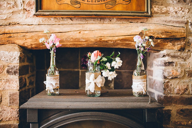 Hessian Lace Flowers Jars Pretty Relaxed Country Hand Made Wedding http://lemonadepictures.co.uk/
