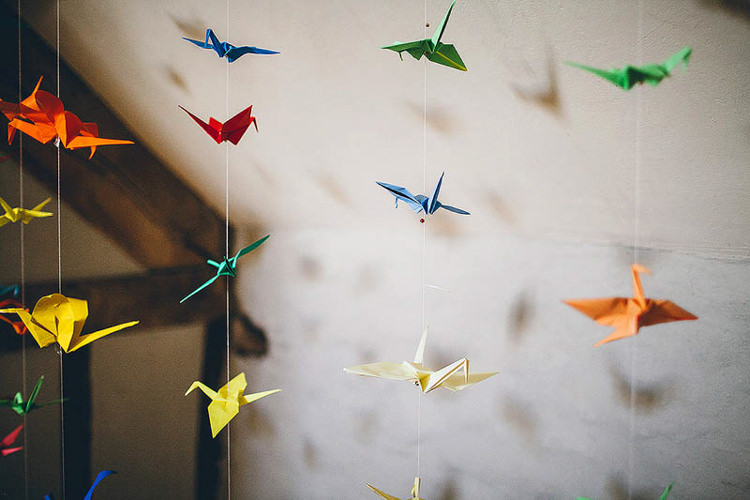 Paper Cranes Hanging Pretty Relaxed Country Hand Made Wedding http://lemonadepictures.co.uk/
