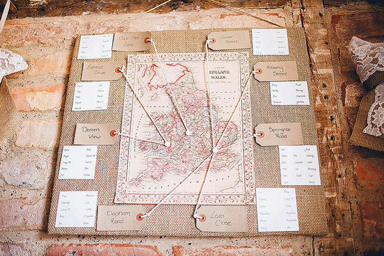 Map Seating Plan Chart Table Pretty Relaxed Country Hand Made Wedding http://lemonadepictures.co.uk/