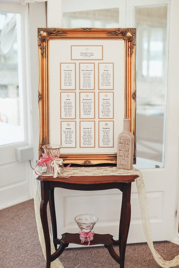 Frame Seating Table Plan Chart Beautiful Pink Gold Gin Wedding http://jesspetrie.com/