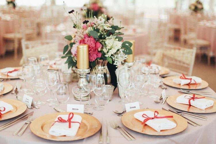 Plates Place Settings Beautiful Pink Gold Gin Wedding http://jesspetrie.com/