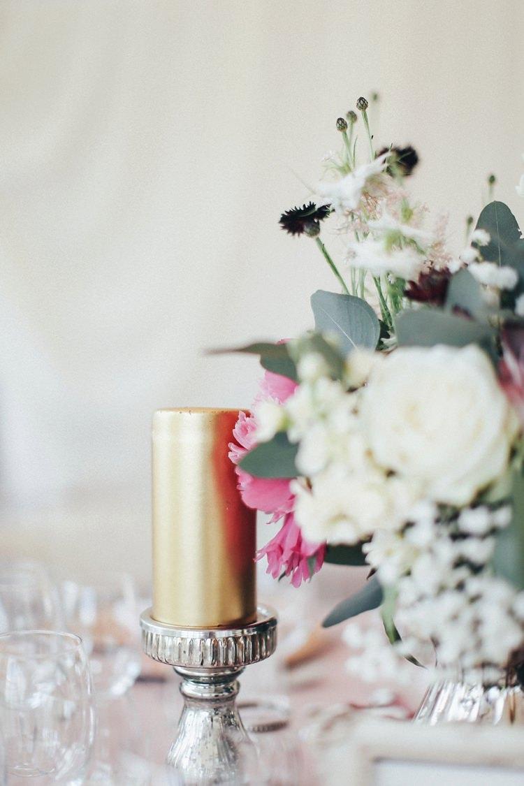 Candle Beautiful Pink Gold Gin Wedding http://jesspetrie.com/