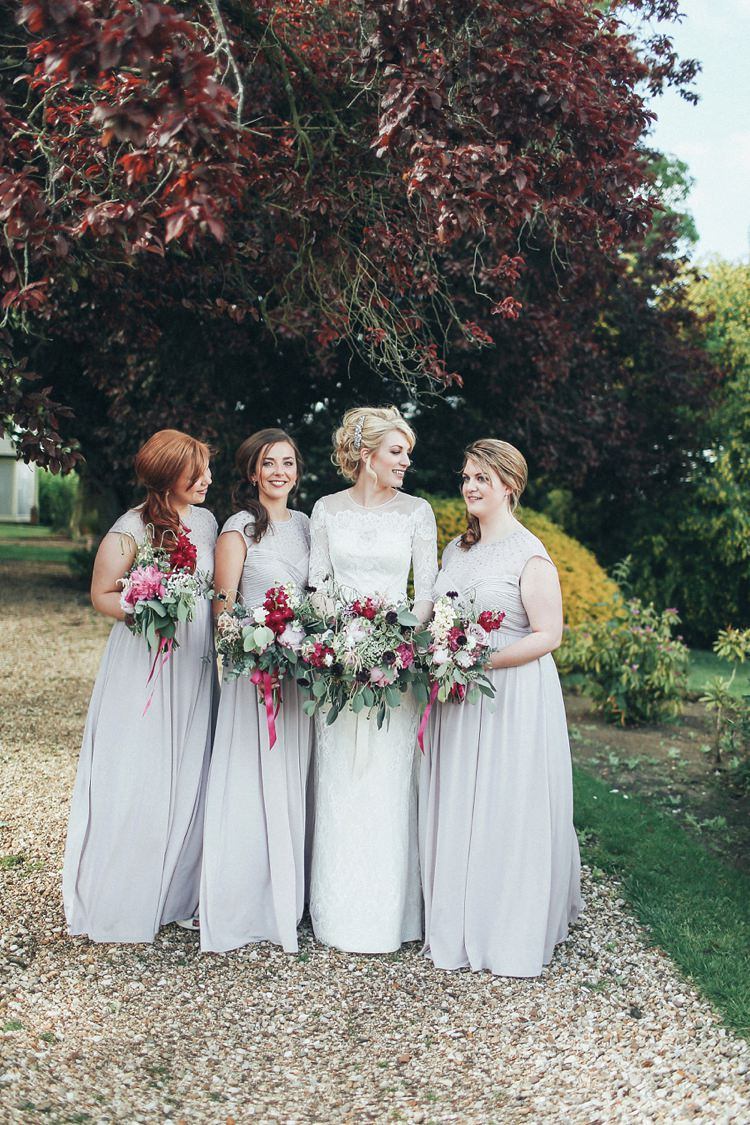 Long Grey Bridesmaid Dresses Red Bouquets Flowers Beautiful Pink Gold Gin Wedding http://jesspetrie.com/