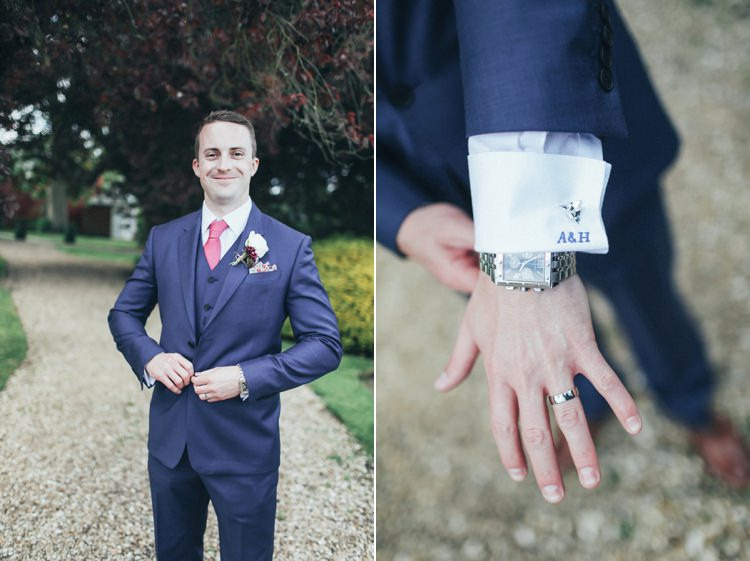 Embriodered Initials Groom Suit Paul Smith Blue Beautiful Pink Gold Gin Wedding http://jesspetrie.com/