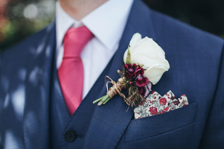 White Rose Buttonhole Groom Floral Pocket Square Beautiful Pink Gold Gin Wedding http://jesspetrie.com/
