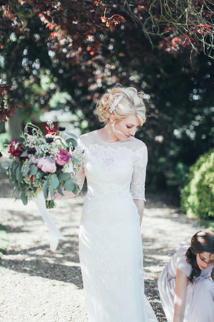 David Fielden Papillion Sheer Lace Sleeves Dress Bride Bridal Beautiful Pink Gold Gin Wedding http://jesspetrie.com/