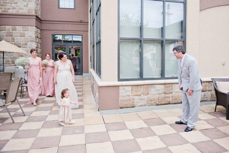 First Look Bride Groom Romantic Pink Grey Outdoor Wedding Ontario http://www.nicoleamanda.ca/
