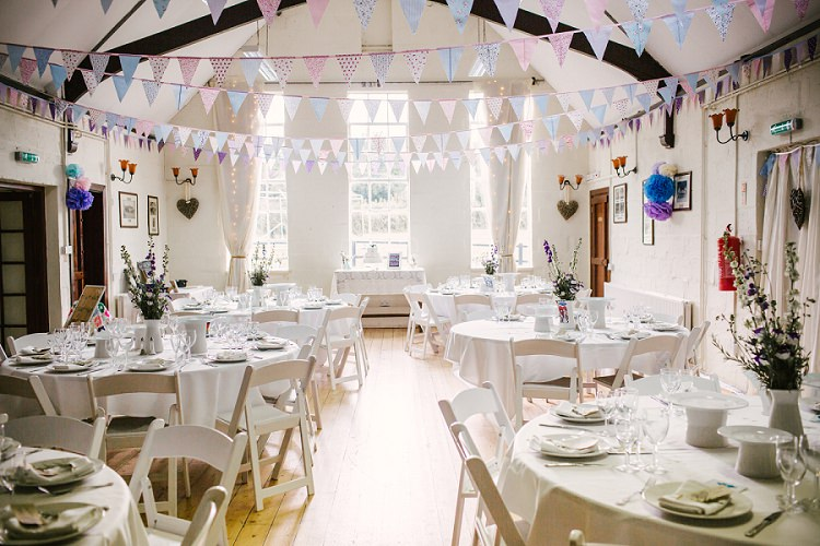 Vintage feel village hall meets geek diy wedding whimsical bunting round tables purple white vintage village hall geek diy wedding httpwww junglespirit Images