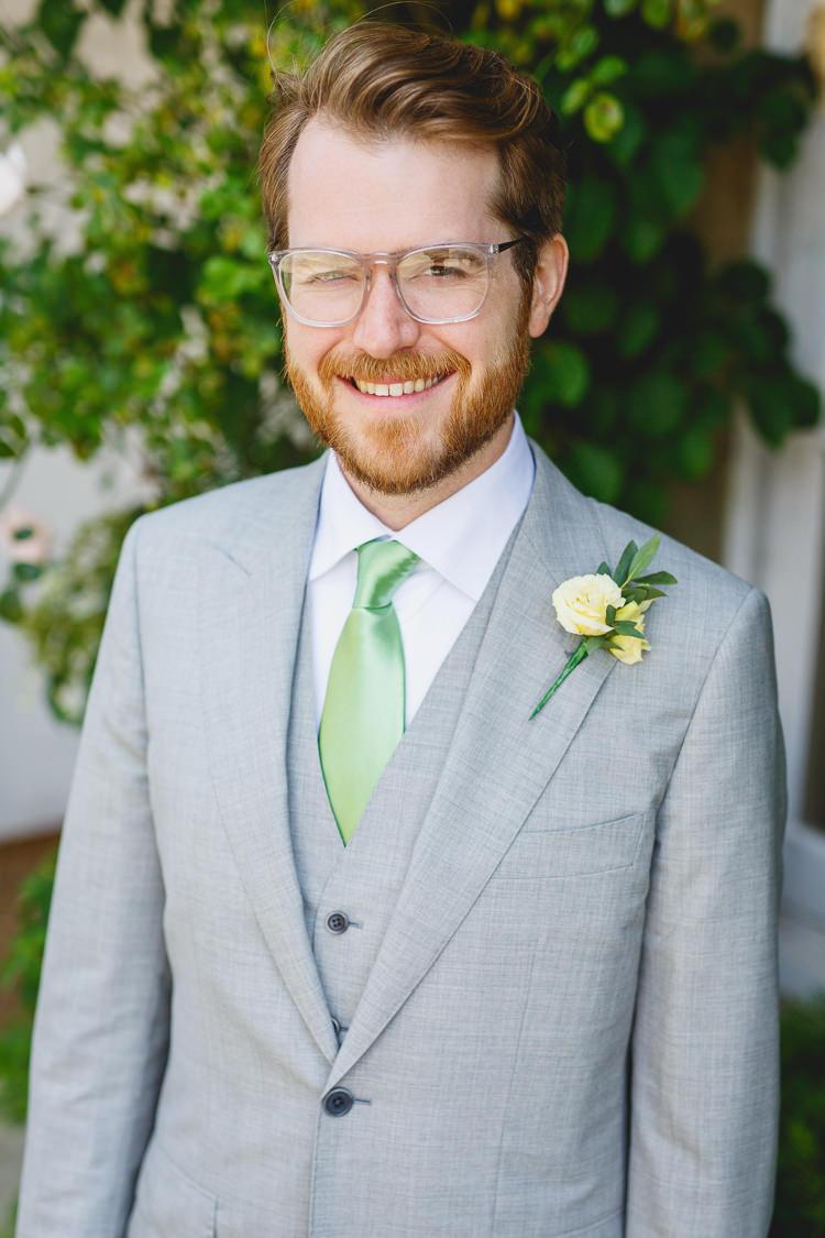 Pale Grey Suit Green Tie Groom Soft Modern Vintage Garden Wedding http://kirstenmavric.co.uk/