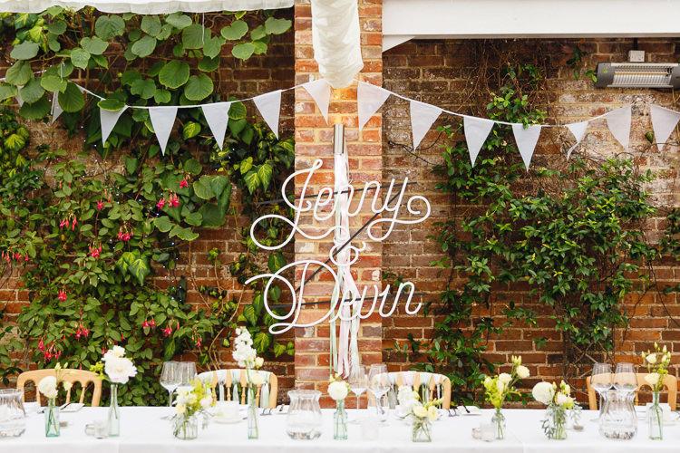 Calligraphy Sign Bride Groom Names Top Table Soft Modern Vintage Garden Wedding http://kirstenmavric.co.uk/