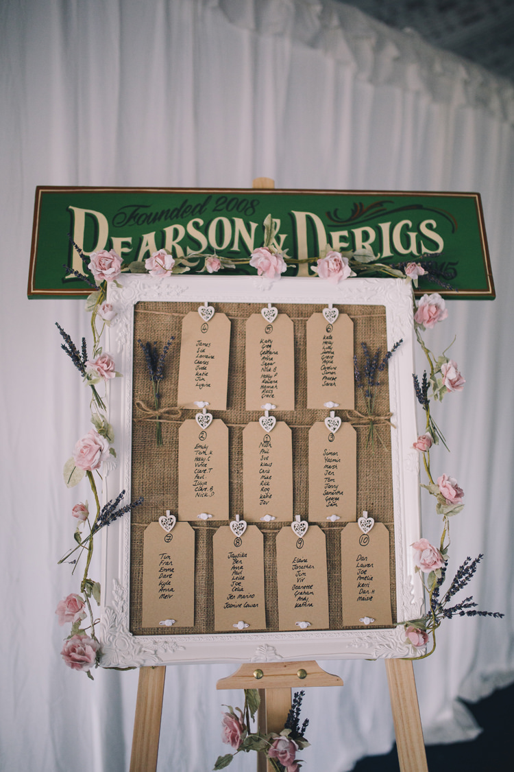 Frame Luggage Tag Seating Table Plan Chart Beautiful Relaxed Summer Blush Wedding http://jenmarino.com/