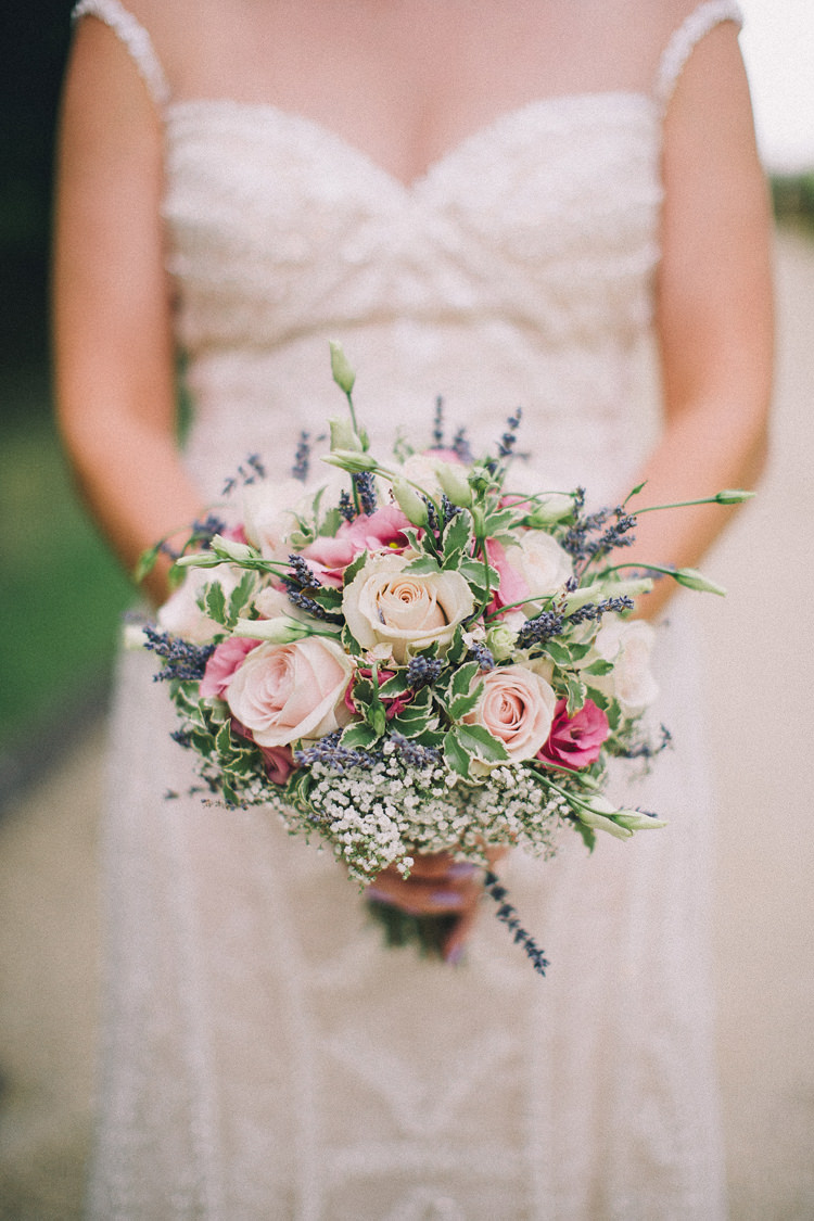 Lavender Rose Gypsophila Bouquet Flowers Bride Bridal Beautiful Relaxed Summer Blush Wedding http://jenmarino.com/
