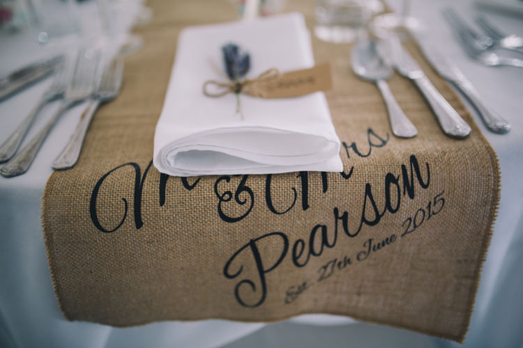 Hessian Table Runner Personalised Beautiful Relaxed Summer Blush Wedding http://jenmarino.com/