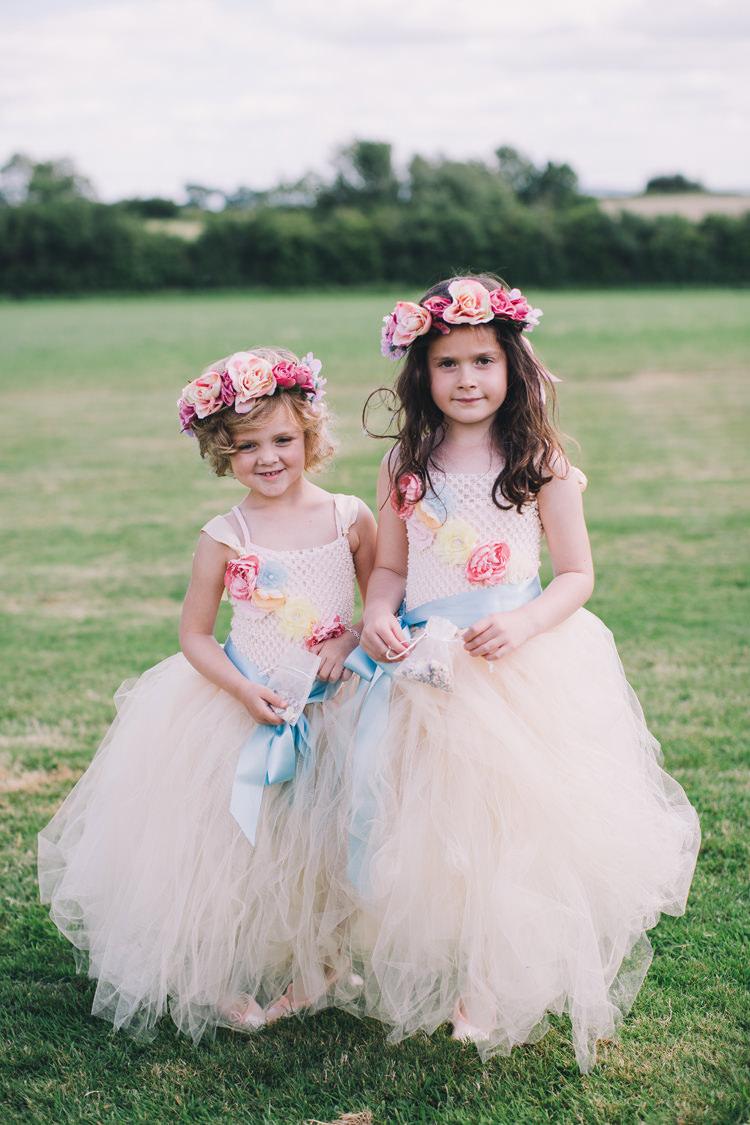 Tutu Flower Girls Flower Crowns Garlands Beautiful Relaxed Summer Blush Wedding http://jenmarino.com/