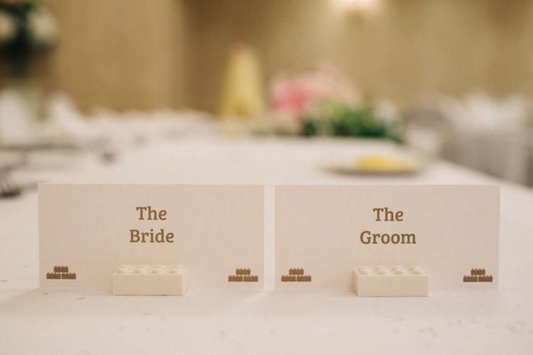 Stationery Place Settings Names Fun Personality Lego Wedding http://rachelryanphotography.co.uk/