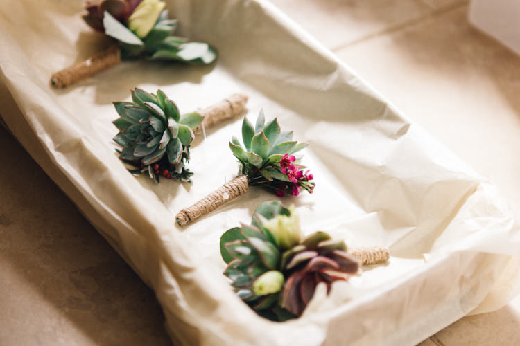 Succulent Buttonholes Exotic Bali Inspired Summer Wedding http://www.beaulieuphotography.com/