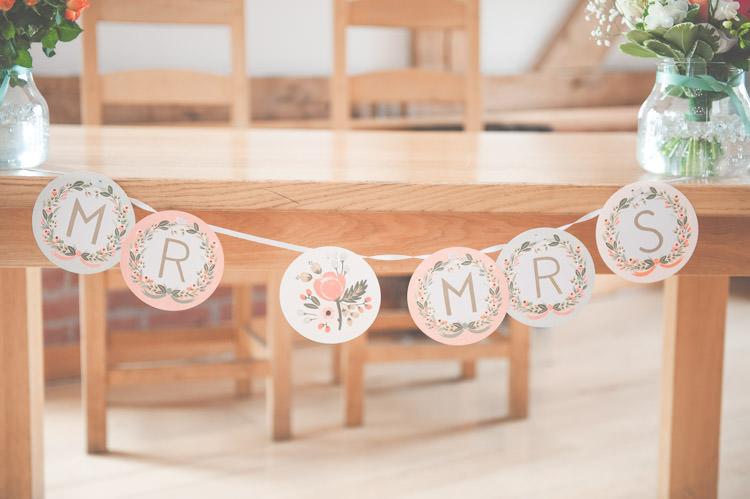 Mr Mrs Paper Bunting Fresh Relaxed Peach Barn Wedding http://lisahowardphotography.co.uk/