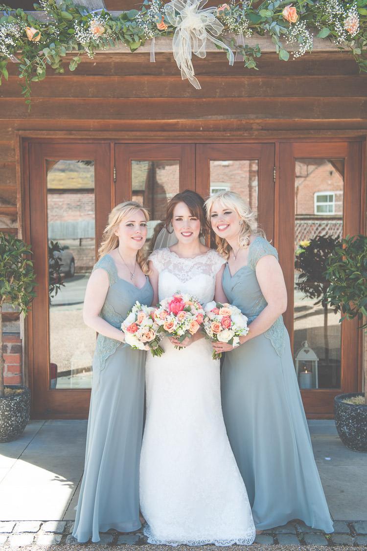 Grey Green Bridesmaid Dresses Long Fresh Relaxed Peach Barn Wedding http://lisahowardphotography.co.uk/