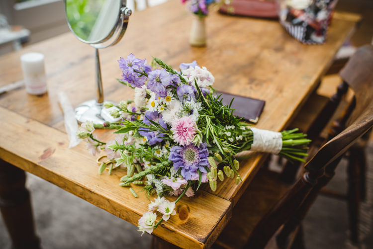 Wild Seasonal Flowers Bouquet Local Purple Pink Bride Bridal Rustic Country Marquee Foliage Gingham Wedding http://www.sophieduckworthphotography.com/