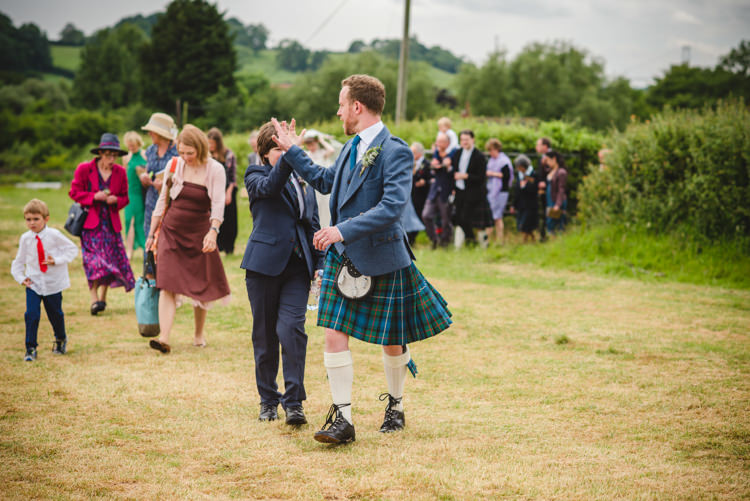 Kilt Groom Rustic Country Marquee Foliage Gingham Wedding http://www.sophieduckworthphotography.com/