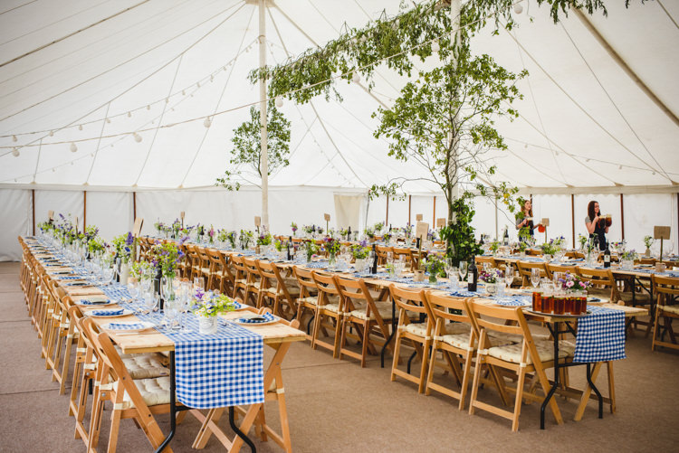 Foliage Trees Festoon Lights Rustic Country Marquee Foliage Gingham Wedding http://www.sophieduckworthphotography.com/