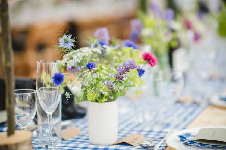 Wild Flowers Jars Tables Rustic Country Marquee Foliage Gingham Wedding http://www.sophieduckworthphotography.com/