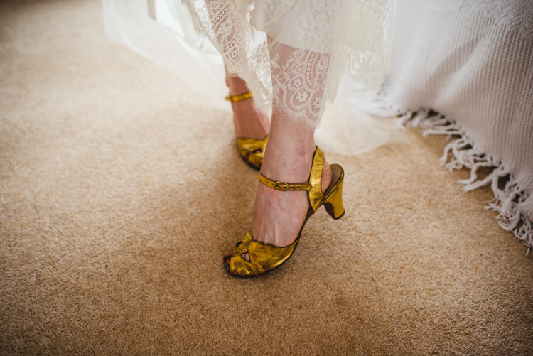 Vintage Gold Shoes Bride Bridal Rustic Country Marquee Foliage Gingham Wedding http://www.sophieduckworthphotography.com/