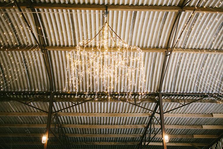 rustic farm barn fairy lights wedding