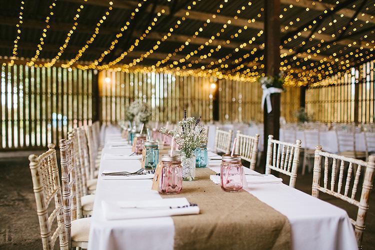 Hessian Table Runners Jar Glasses Rustic Farm Barn Fairy Lights Wedding