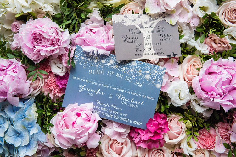 Tree Woodland Stationery Invitation Whimsical Boho Glamour Pink Blue Gold Wedding http://www.sarareeve.com/