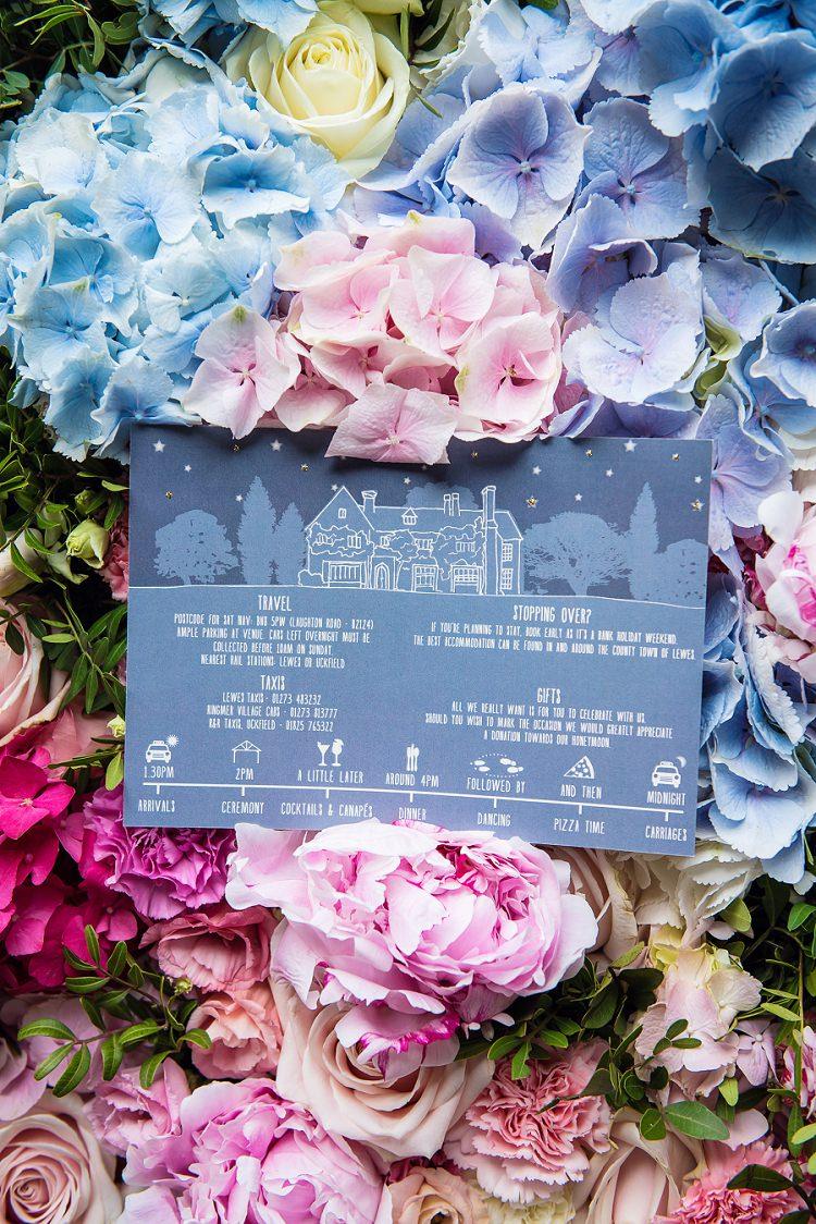 Invitations Stationery Whimsical Boho Glamour Pink Blue Gold Wedding http://www.sarareeve.com/