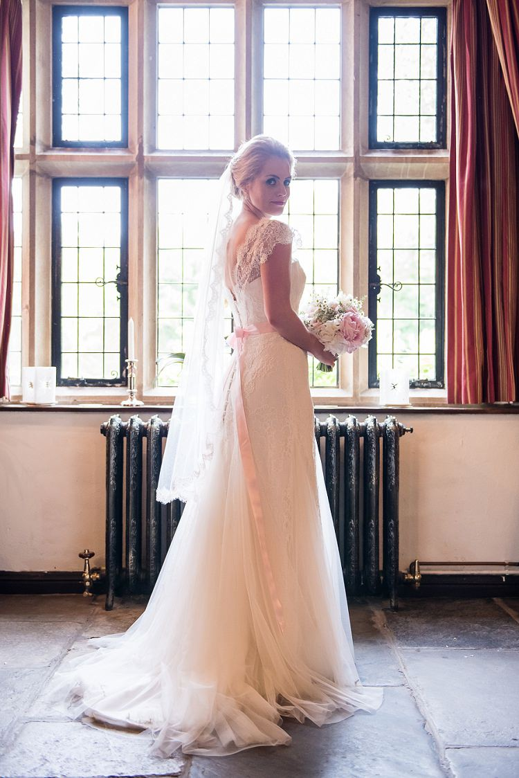 Stephanie Allin Honour Lace Tulle Dress Gown Bride Bridal Pink Ribbon Sash Whimsical Boho Glamour Pink Blue Gold Wedding http://www.sarareeve.com/
