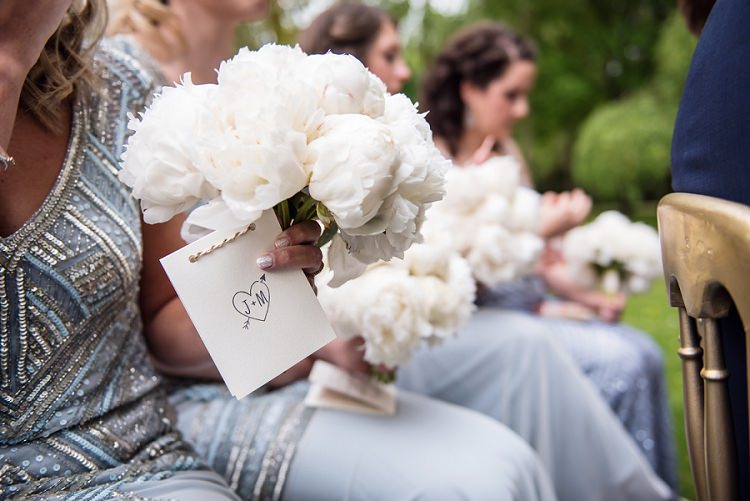 White Peony Bouquet Bridesmaids Flowers Whimsical Boho Glamour Pink Blue Gold Wedding http://www.sarareeve.com/