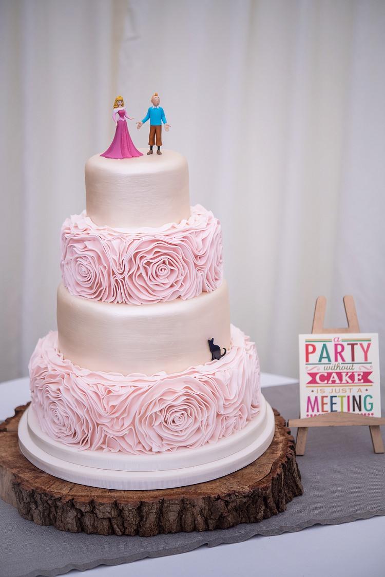 Ruffle Flower Floral Cake Whimsical Boho Glamour Pink Blue Gold Wedding http://www.sarareeve.com/