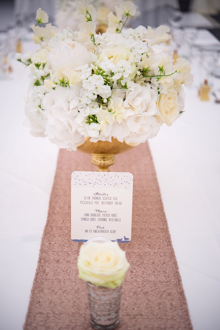 Sequin Table Runner White Flowers Centrepiece Whimsical Boho Glamour Pink Blue Gold Wedding http://www.sarareeve.com/