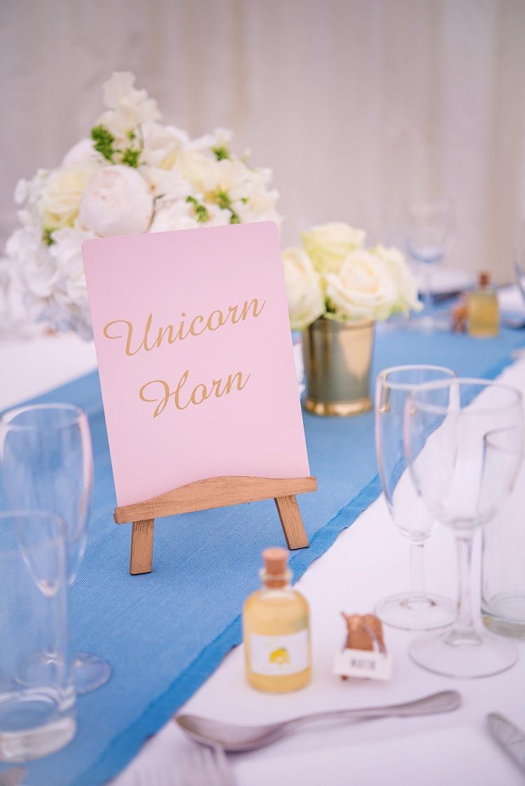Unicorn Table Name Whimsical Boho Glamour Pink Blue Gold Wedding http://www.sarareeve.com/