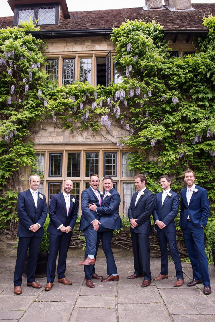 Blue Suits Tan Shoes Groom Groomsmen Whimsical Boho Glamour Pink Blue Gold Wedding http://www.sarareeve.com/