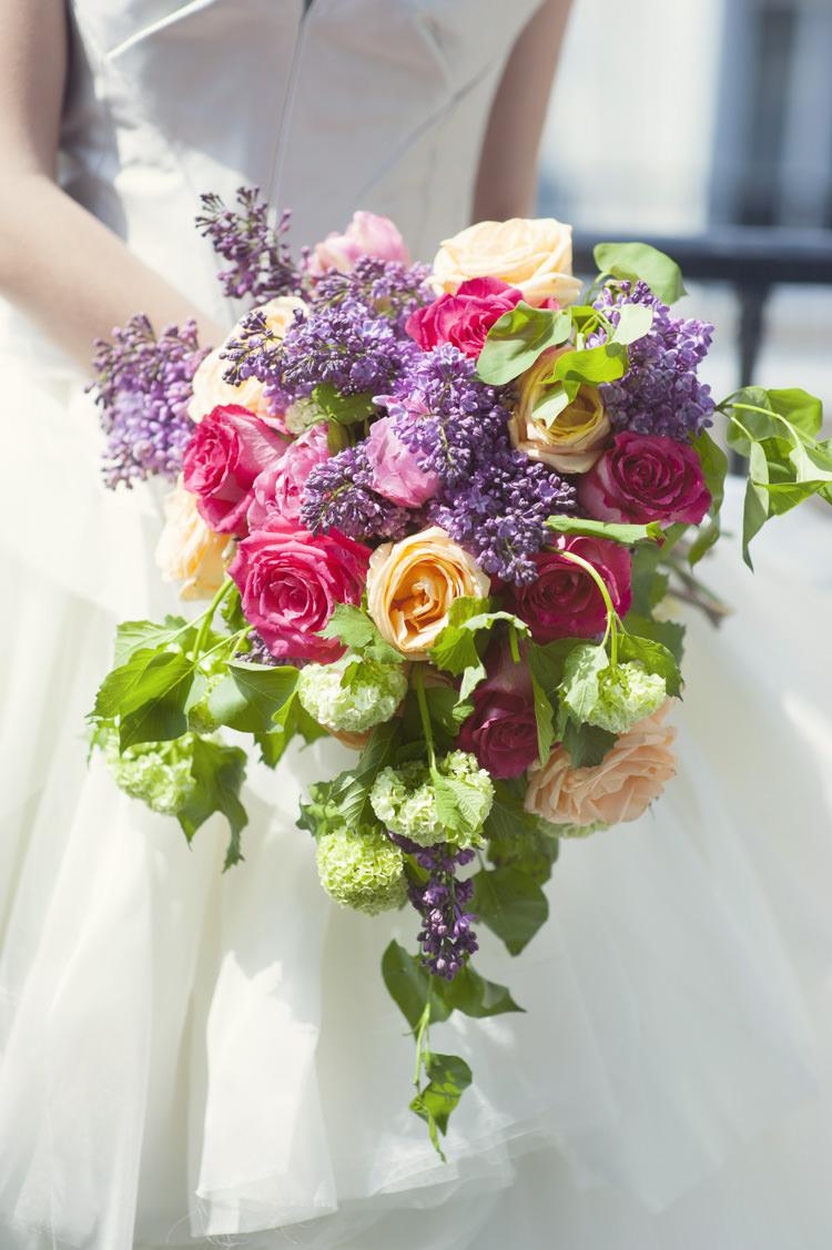 Pink Purple Green Bouquet Flowers Bride Bridal Cascade Opulent Parisian Pink Wedding Ideas http://careysheffield.com/