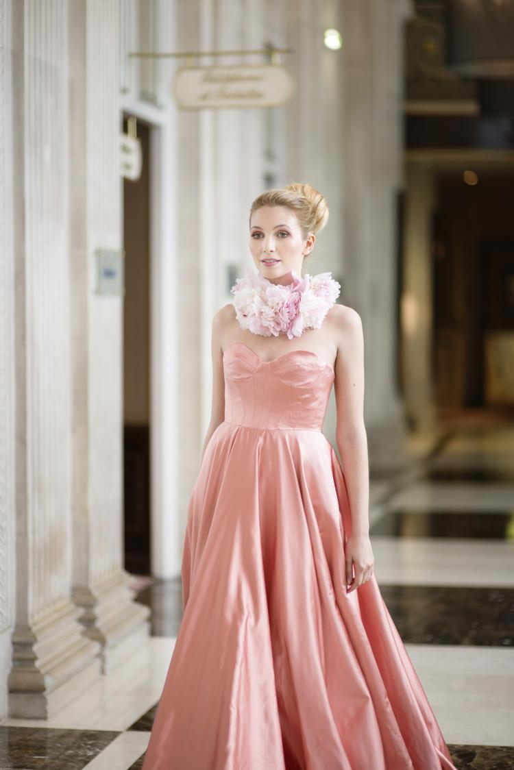 Blush Pink Dress Gown Bride Bridal Opulent Parisian Pink Wedding Ideas http://careysheffield.com/
