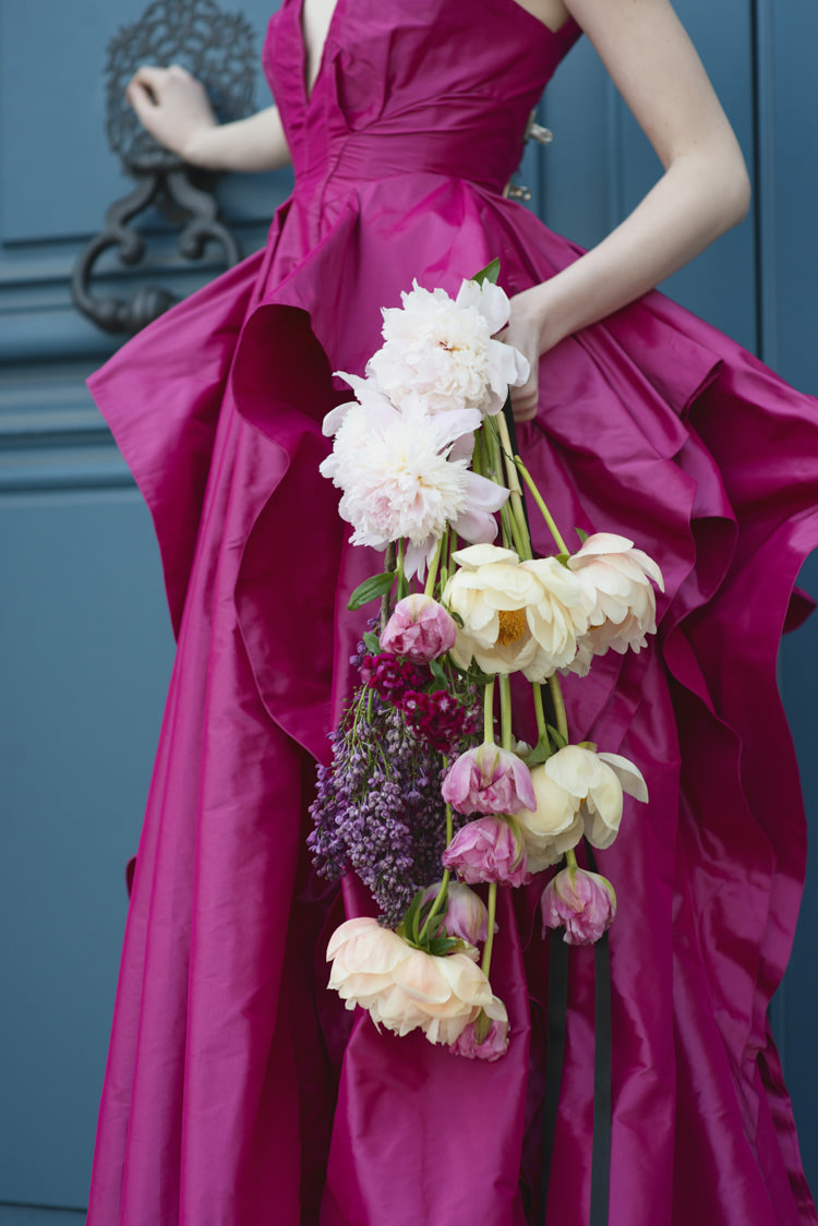 Peony Cascading Bouquet Bride Bridal Opulent Parisian Pink Wedding Ideas http://careysheffield.com/