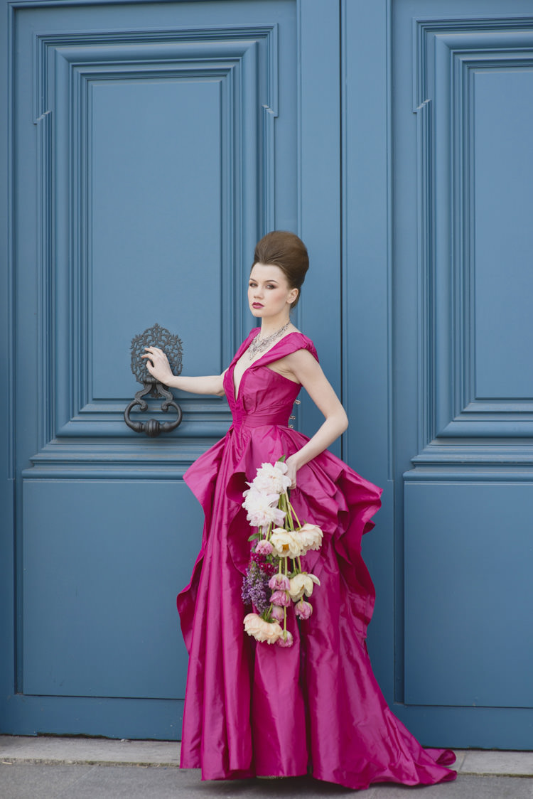 Vibrant Pink Dress Gown Bride Bridal Opulent Parisian Pink Wedding Ideas http://careysheffield.com/