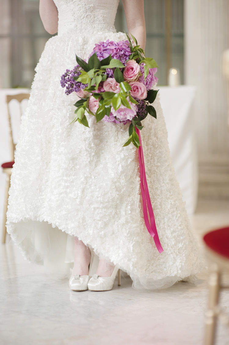 Ribbon Bouquet Bride Bridal Flowers Opulent Parisian Pink Wedding Ideas http://careysheffield.com/