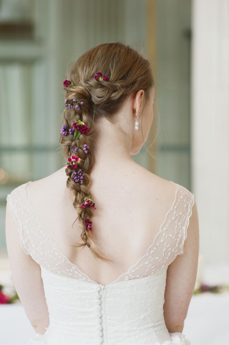 Large Plait Braid Hair Bride Bridal Flowers Opulent Parisian Pink Wedding Ideas http://careysheffield.com/